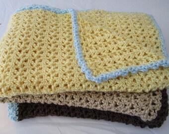 Striped Crochet Lap Blanket or Baby Blanket