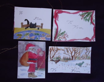Set of four gift tags for Christmas time.
