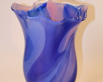 Blue and Pink Wavy Handblown Glass Vase