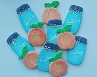 Peach and Mason Jar Decorated Sugar Cookies 1 dozen (12 cookies)