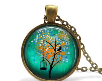Tree Necklace Art Pendant Tree Jewelry Tree of Life Wearable Art Necklace Mothers Day Gift for her Tree Art Keychain Artist Gift for Artists