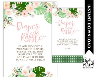 Tropical Diaper Raffle / Luau Diaper Raffle / Flower Diaper Raffle / Pink Green Diaper Raffle / Boho Chic Botanical Diaper Raffle TP01