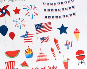 Planner Stickers July 4th Decorative Holiday for Erin Condren, Happy Planner, Filofax, Scrapbooking