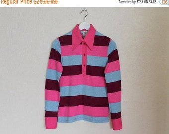ON SALE 20% OFF Striped Cotton Top Shirt Long Sleeves Top Pink Blue Striped  Blouse  Cotton Jersey T-Shirt Huge Collar Small Size