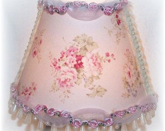 Chic Sweet and Dainty Pink Shabby Roses Tulle NIGHT LIGHT with Pink Rosebuds and Ivory Teardrop Beading