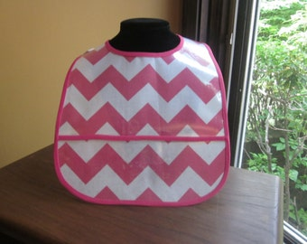 WATERPROOF WIPEABLE Baby to Toddler Plastic Coated Bib Hot Pink and White Chevron