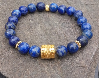 Lapis lazuli bracelet Bali bead and spacers in 22 k gold Vermeil