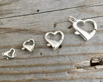 Sterling Silver Heart Clasp lobster Claw Large Sterling Silver Jewelry Supply Jewelry Findings