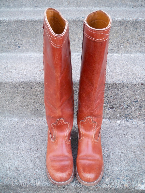 Heels Dexter intage Braids Made Leather amp; Tall Stacked Campus Riding Boots Size 9 USA With in Fgq8vgwdn