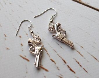 Silver Gun Earrings/ The Walking Dead inspired Earrings/ steampunk zombie charm jewellery
