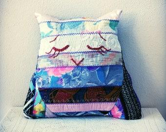 Owl Cushion  - Embroidered Cushion - Small Cushion - Colourful Cushion - Owl -  Zero Waste
