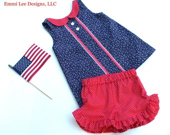 Size 5T Ready to Ship, Patriotic Top,Red,White,Tunic,Dress,Little Girl,Toddler,Girls,Clothing,Blue,Summer