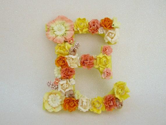 Flower name letter Flower letter E Yellow and orange