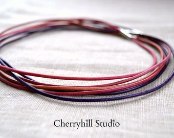 Leather Cord Necklace, Add a Necklace, Leather Cord, Pink and Purple Leather Cord, Leather Necklace, Leather Jewellery, Jewellery & Gifts