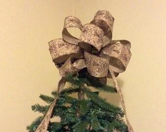 Christmas Bow Tree Topper/ Rustic Elegance Tree Topper Bow/ Christmas Bow / Large Christmas Tree Bows