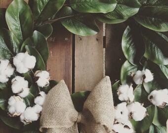 Magnolia Wreath. Cotton Wreath. Farmhouse Decor. Rustic Home Decor. Greenery Wreath. Fixer Upper Decor.