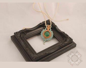 Macrame necklace with glass bead pendant, Boho Jewelry.