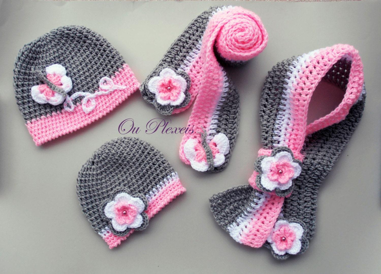 Set Mütze und Schal häkeln gehäkelt Baby Mädchen Hut und