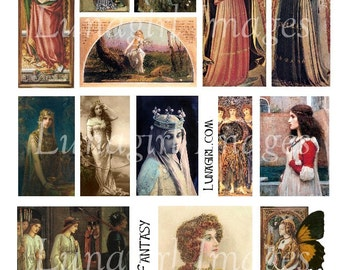 MEDIEVAL FANTASY digital collage sheet DOWNLOAD vintage images antique Victorian art photos gothic ladies women queen princess angels cards