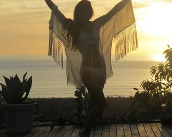 Boho Beach Kimono, fringed Beach Tops, Beach cover ups, Linen Kimono, bridal lingerie, bridal shower dress, beach caftan, boho beach kaftan