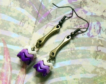 Purple, Lavender and Ivory Chevron Earrings (2732)