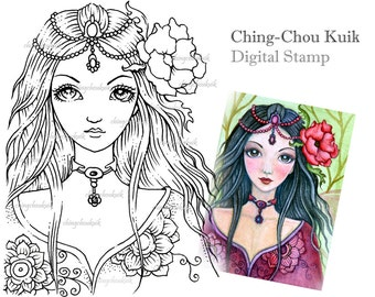 Peony - Digital Stamp Instant Download / Art by Ching-Chou Kuik