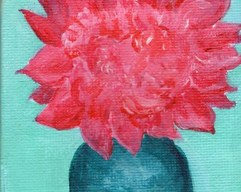 Pink Peony in Canning Jar painting  on  Mini Canvas with Easel