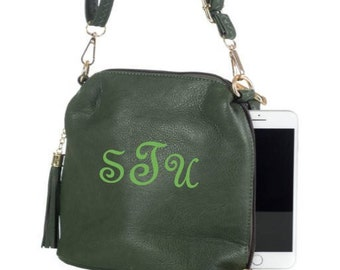 Monogrammed Crossbody Bag with Tassel Trim/ Great Gift!/ NEW for FALL