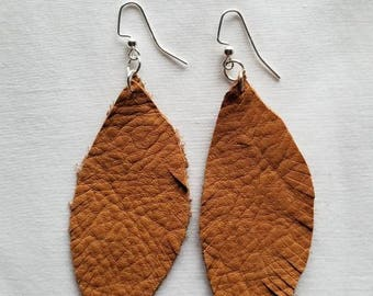 Tan Leather Feather Earrings