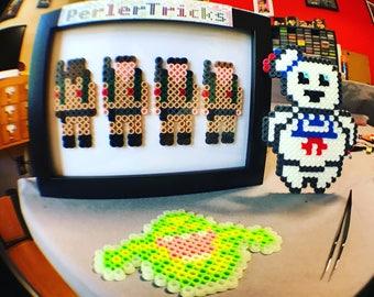 Ghostbusters minimalism pixel art geek framed artwork 8 bit Perler beads PerlerTricks