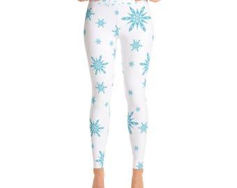 Snowflake Yoga Leggings | Winter Leggings | Nature Inspired | Snowflakes | Snow |