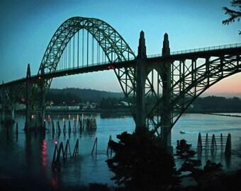 HOME BEFORE DARK - Enhanced photograph on metal, photo on metal,  Newport, Oregon, Yaquina Bay Bridge, bridge, photo on metal, print