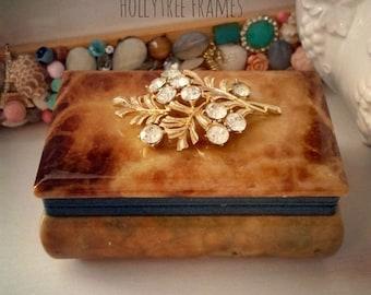 Vintage Trinket Jewelry Box with Vintage Rhinestone Brooch