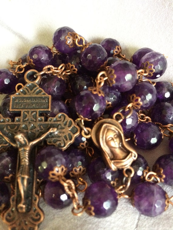 Large 10mm Amethyst Natural Stone Bead Rosary in Copper Handmade Oklahoma Faceted Stones