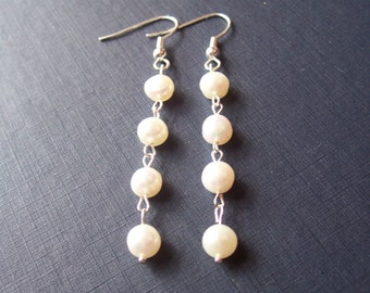 Freshwater Pearl Earrings Bridal - Ivory White Silver Drop Long Jewellery - Dangle Bridesmaid Wedding Accessories Jewelry Gift Bride