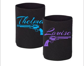 "2 Neoprene Can Coolers -- ""Thelma & Louise Revolver"""