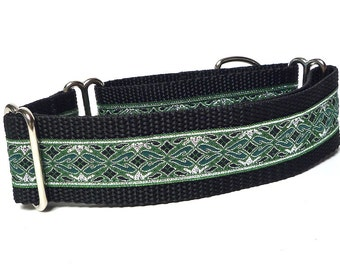 Martingale collar, OLD ENGLISH, dog collar, green and silver, metallic, Greyhound Collar, Sighthound Collar, Adjustable, training collar