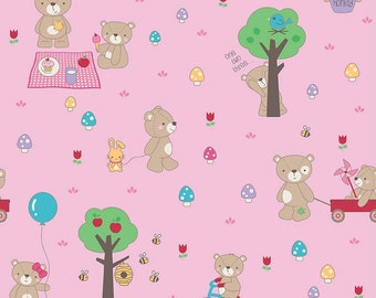 Clearance FABRIC TEDDY BEAR'S Picnic print by Riley Blake  1/2 Yard
