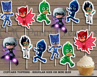 PJ Masks Cupcake Toppers, Die Cuts, Birthday Party Cupcake Toppers