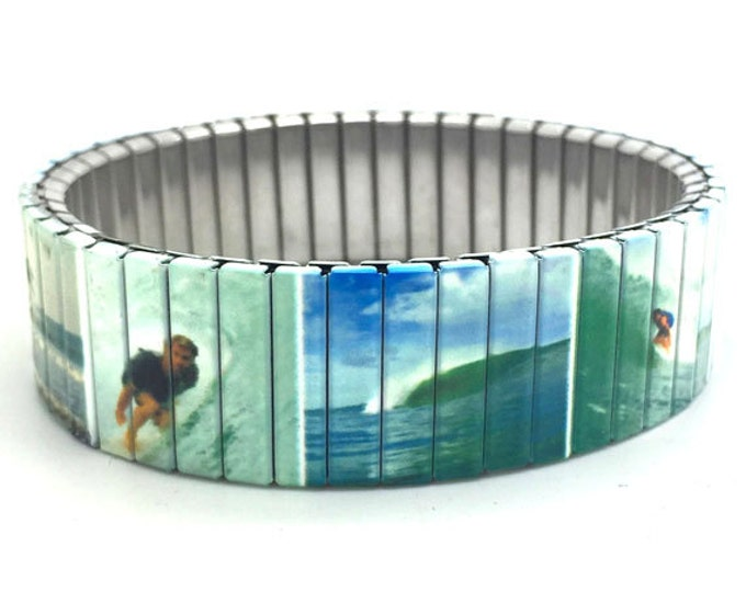 Bracelet WAVE SURFING, Surf Art, Surfboard, Stretch, Repurposed watch band, Sublimation, Stainless Steel, Wrist Band, gift for friends