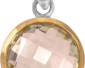 Silver Pendant round lemon quartz faceted gold-plated 925 sterling silver stone Pendant (art-No. AG-57)