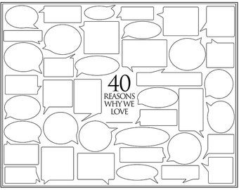 Personalized Birthday Present – 40 Reasons We Love You – Template for Print or Editing – Photoshop Template – 40th Birthday
