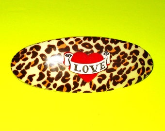 LAST ONE! Leopard Print and Red Tattoo Heart Banner Rockabilly Pinup Jewelry Hair Clip