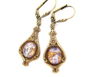 Dragons Breath Earrings Art Deco Art Nouveau Boho Bohemian Earrings, Art Glass Dangle Drop, Steampunk Hawaii Beads Jewelry
