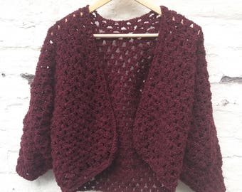 Burgundy Boucle Cardigan - SAMPLE SALE UK 12 14 16