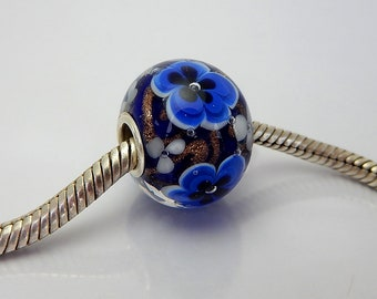 Encased Blue Frowers - Lampwork Bead - BHB - Big Hole Bead - Handmade Beads
