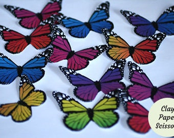 """12   1.5-3"""" wide cardstock rainbow monarch paper butterflies for butterfly birthday party decorations,  scrapbooking cutouts and decoupage"""