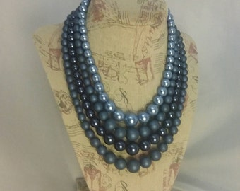 60s beaded necklace 4 strand necklace blue bead necklace costume jewelry womens jewelry womens accessories