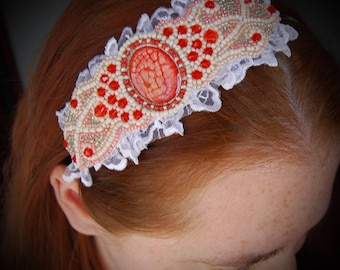 Beaded headband, Blossomed Love, Lace headband, embroidered headband, bridal headband, elegant headband, unique, red hair accessory