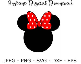 Minnie Mouse, Polka Dot, Bow, SVG DXF Png Vector Cut File Cricut Design Silhouette Vinyl Decal Disney Party Stencil Template Transfer Iron